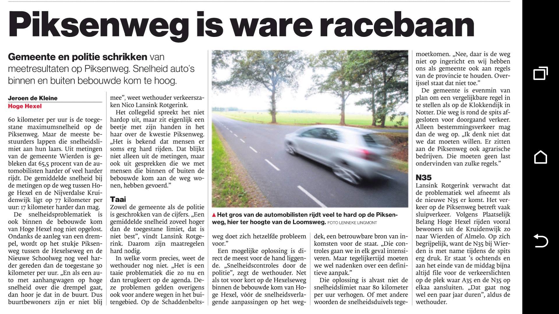 Artikel hoge snelheid Piksenweg