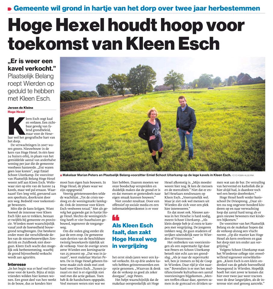 Hoge Hexel houdt hoop voor toekomst van Kleen Esch